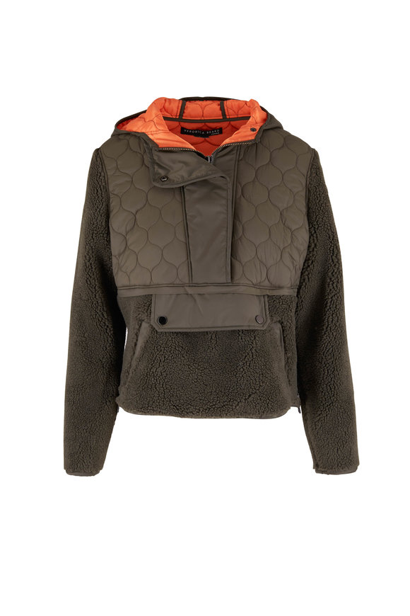 Veronica Beard Leo Army Green Sherpa Quilted Pullover