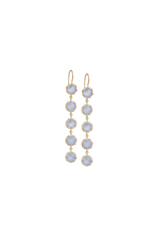 Gold Blue Chalcedony Beaded Circle Drop Earrings