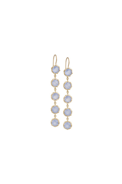 Jamie Wolf - Gold Blue Chalcedony Beaded Circle Drop Earrings