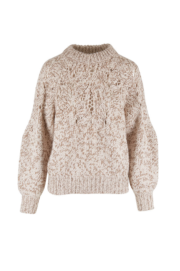 Brunello Cucinelli Ivory Open Weave Cashmere Sweater