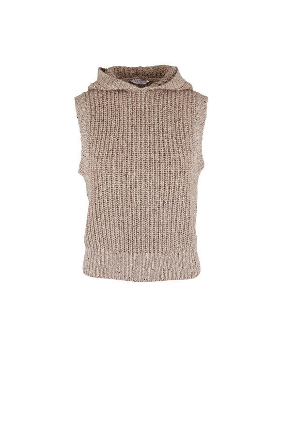Brunello Cucinelli Beige Cashmere, Wool & Silk Hooded Vest