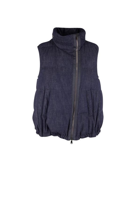 Brunello Cucinelli Dark Denim Quilted Puffy Vest