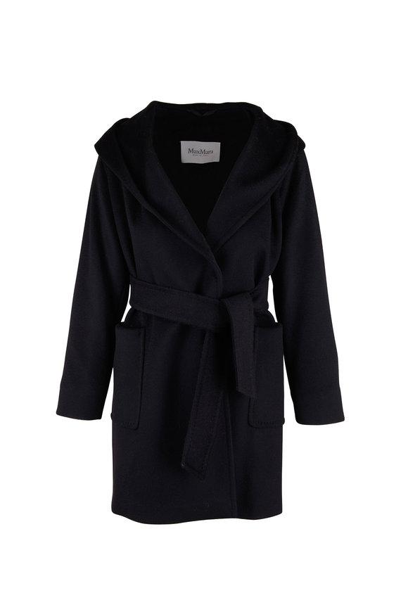 Max Mara Rialto Black Wool Hooded Coat