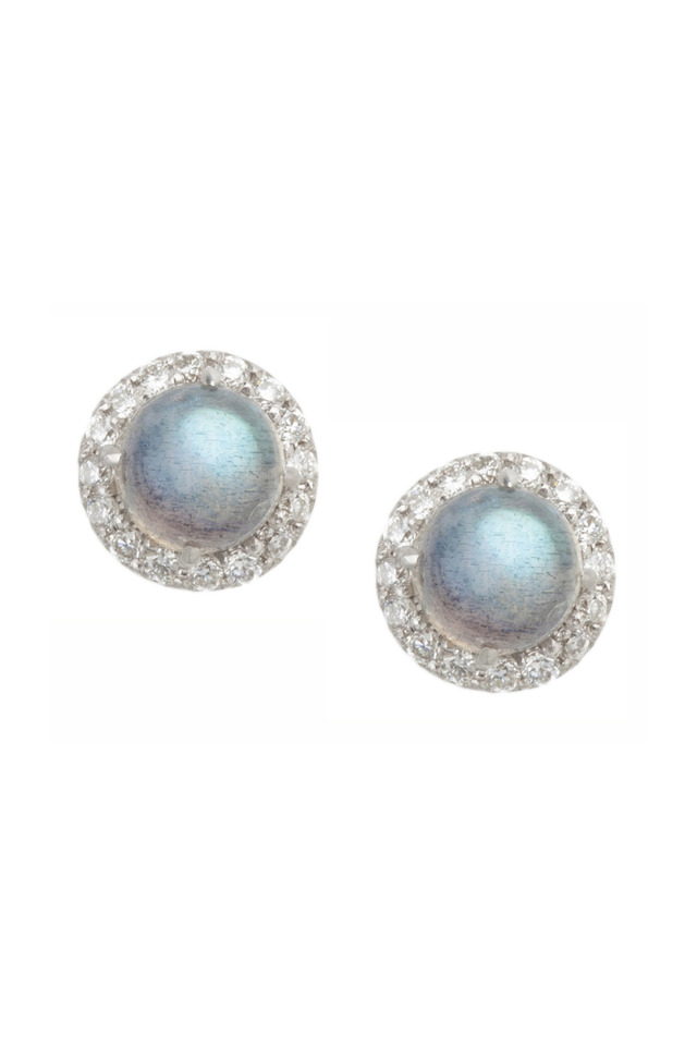 Gold Labradorite Pavé-Set Diamond Stud Earrings