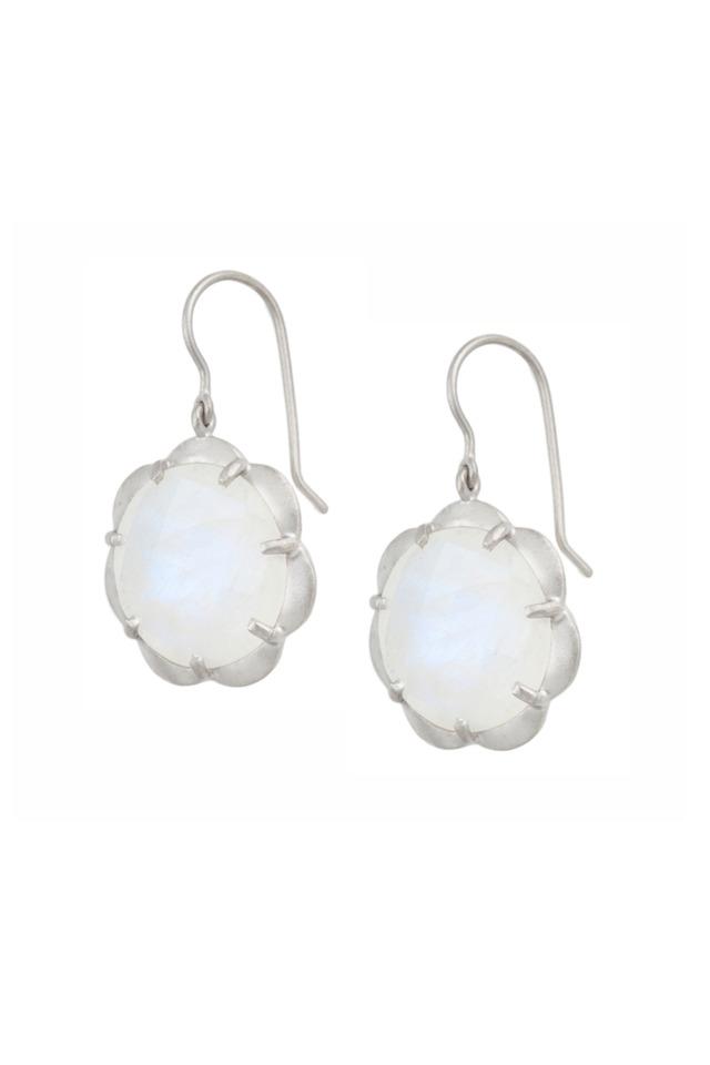 White Gold Scalloped Drop Moonstone Earrings