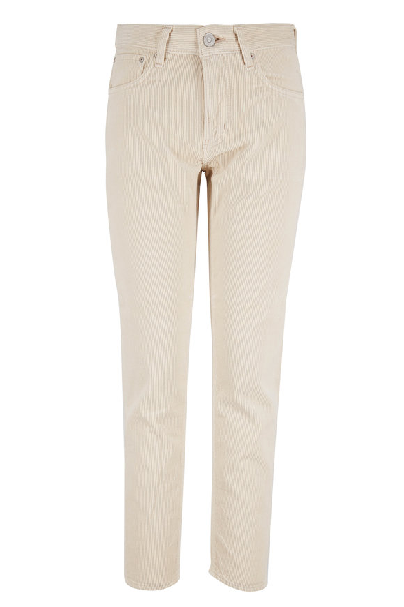 Moussy Ailey Ivory Mid-Rise Corduroy Pant