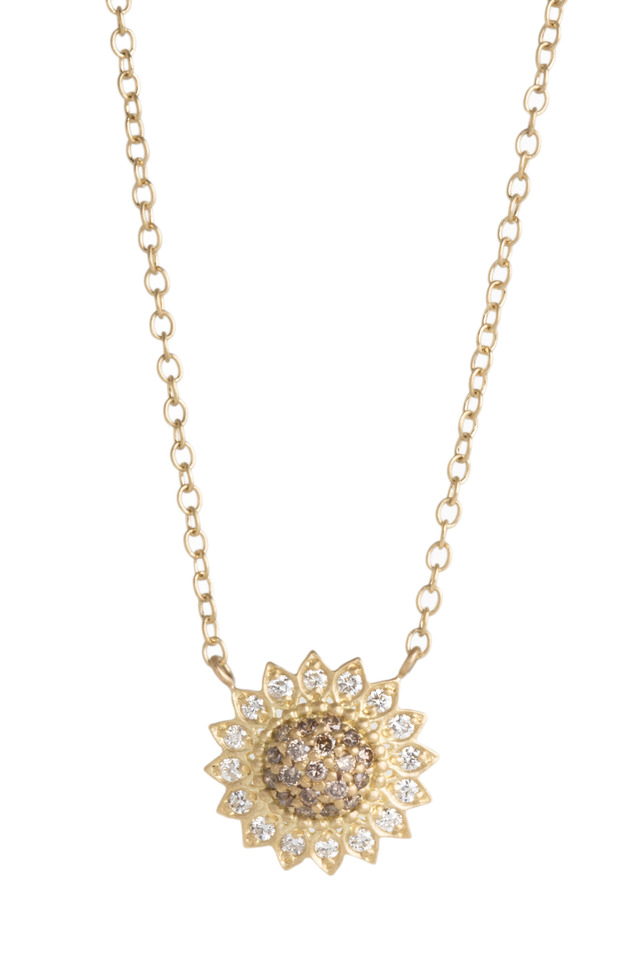 Gold Cognac And White Diamond Sunflower Necklace