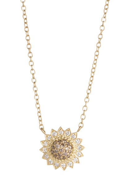 Jamie Wolf - Gold Cognac And White Diamond Sunflower Necklace