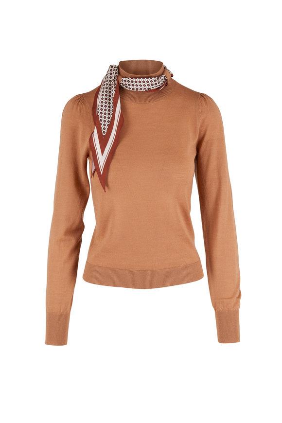 Veronica Beard Essenza Camel Scarf Accent Sweater