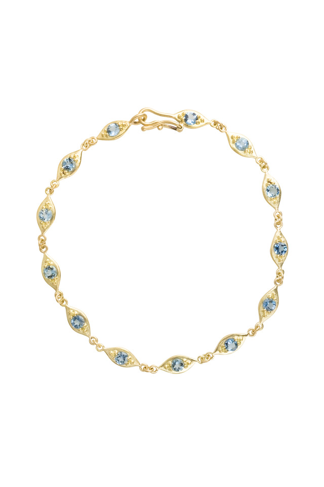 Gold Aqua Linked Leaf Bracelet