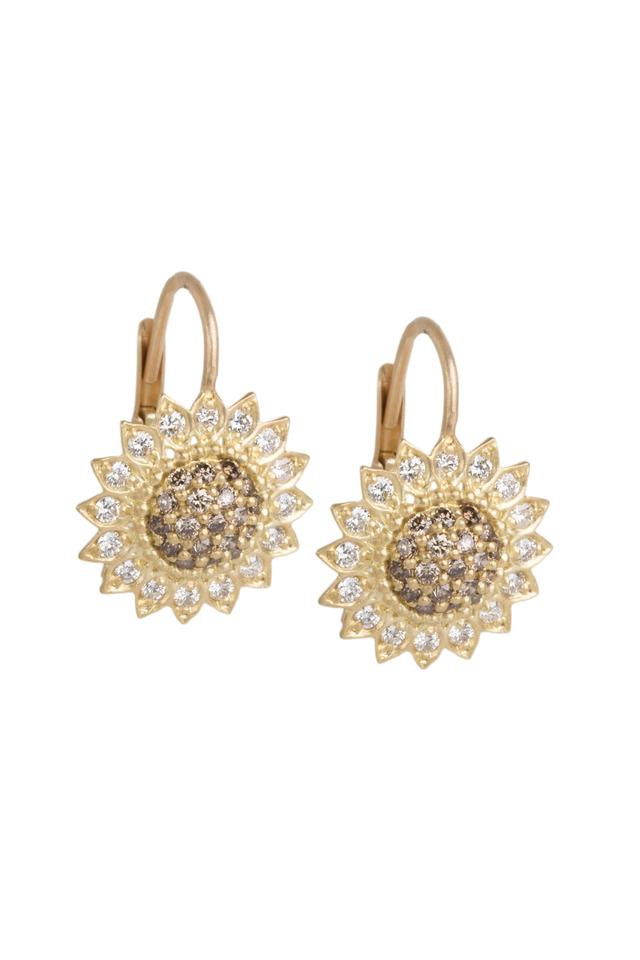 Gold Cognac And White Diamond Sunflower Earrings