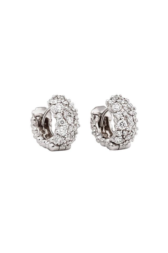 White Gold Mixed Diamond Cluster Stud Earrings
