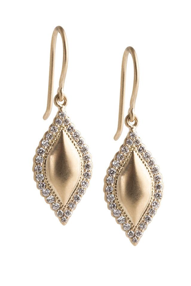 Yellow Gold Scalloped Edge Diamond Earrings
