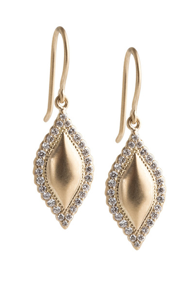 Jamie Wolf - Yellow Gold Scalloped Edge Diamond Earrings