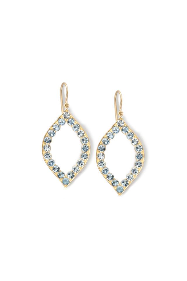 Gold Scallop Aqua Marquise Earrings