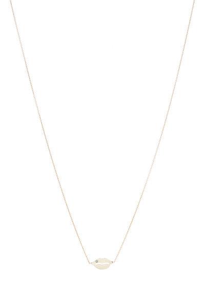 Tulah Jem - Yellow Gold Single Diamond Lips Necklace