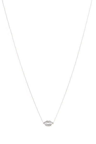 Tulah Jem - White Gold White Diamond Lips Necklace
