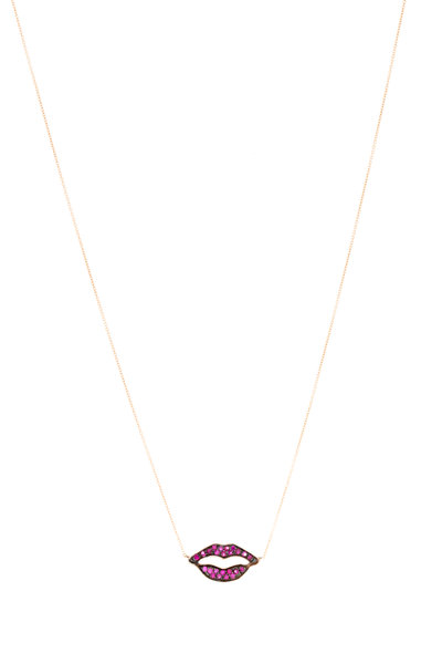 Tulah Jem - Rose Gold Red Ruby Lips Necklace