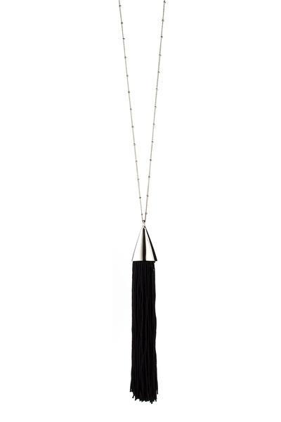 Eddie Borgo - Brass Silver Plate Silk Tassle Cone Necklace