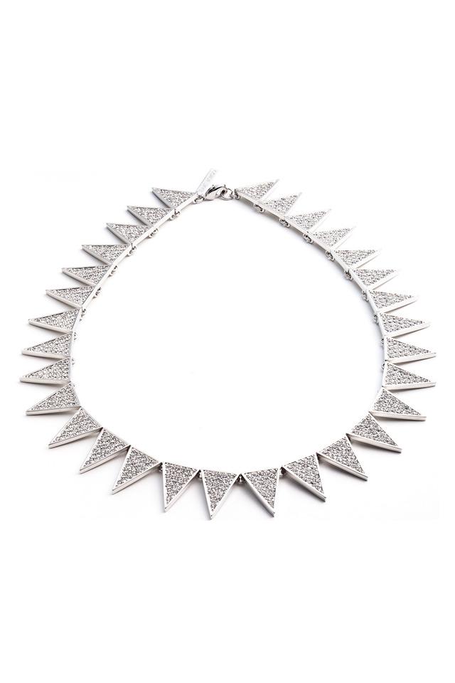 Brass Silver Plate Crystal Pave Necklace