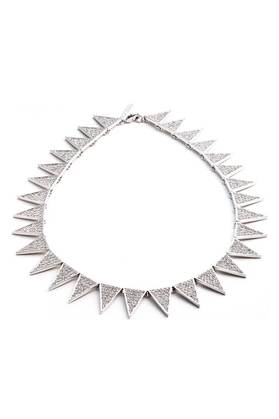 Eddie Borgo - Brass Silver Plate Crystal Pave Necklace
