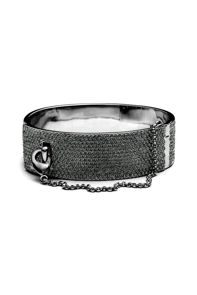 Pave Safety Chain Cuff Bracelet