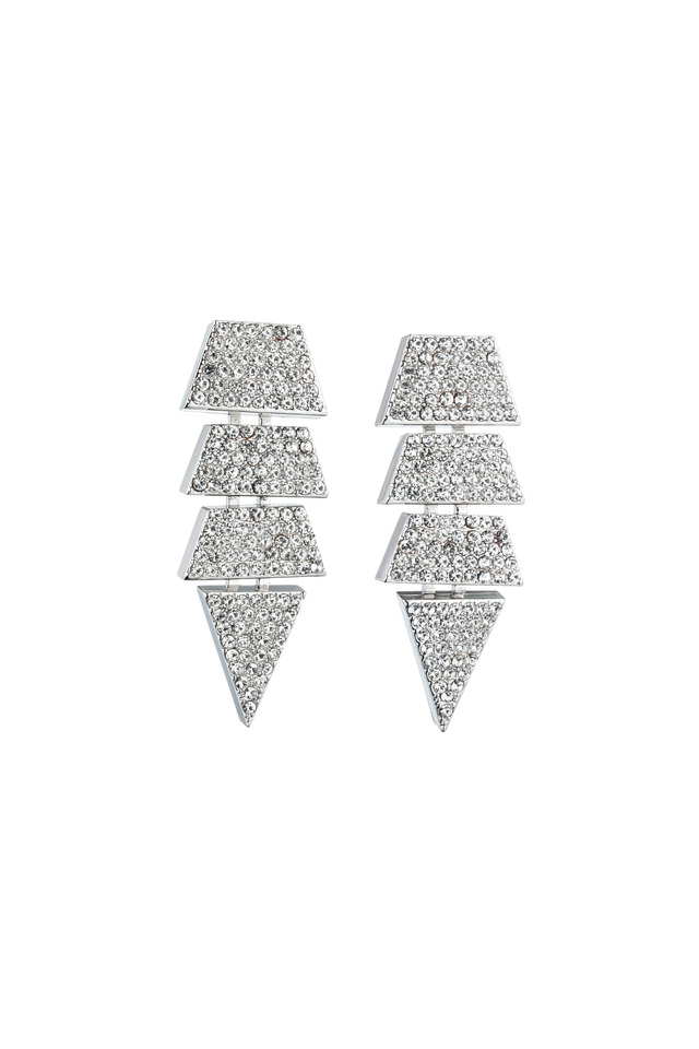 Brass Silver Pave Crystal Scaled Triangle Earrings