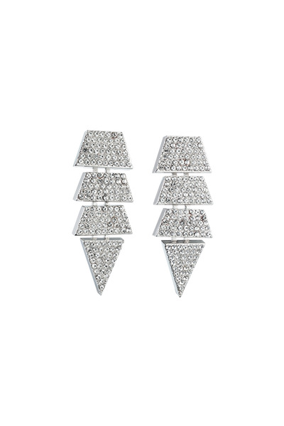 Eddie Borgo - Brass Silver Pave Crystal Scaled Triangle Earrings