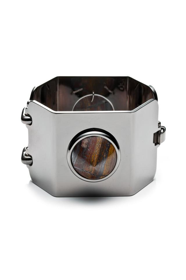 Brass Gunmetal Plate Gemstone Cone Bracelet