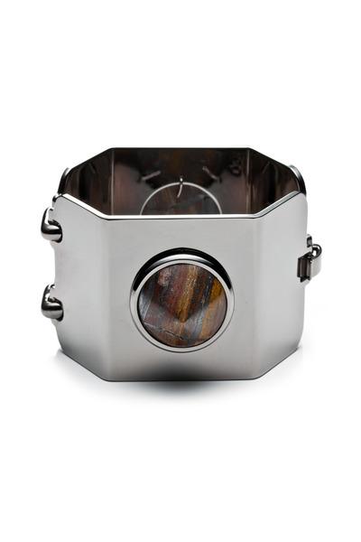 Eddie Borgo - Brass Gunmetal Plate Gemstone Cone Bracelet