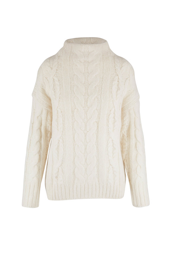 Vince Cream Braided Cable Knit Sweater