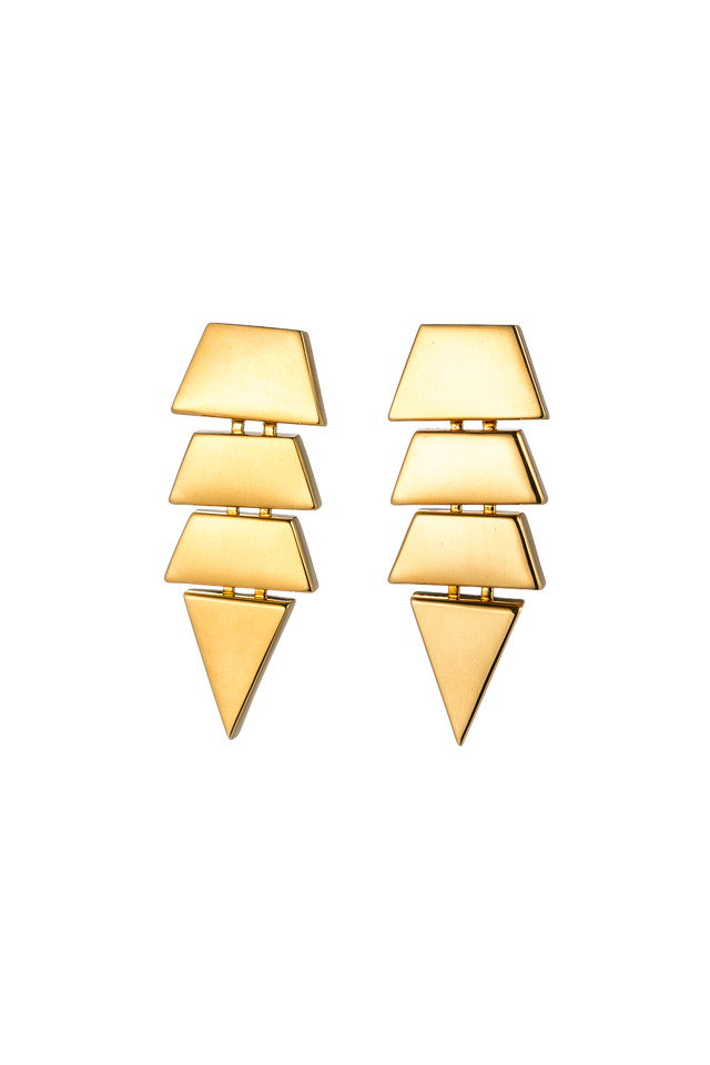 Brass Gold Plate Scaled Triangle Stud Earrings