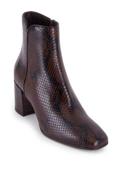 Aquatalia - Dalia Chocolate Snake Print Leather Boot, 70mm