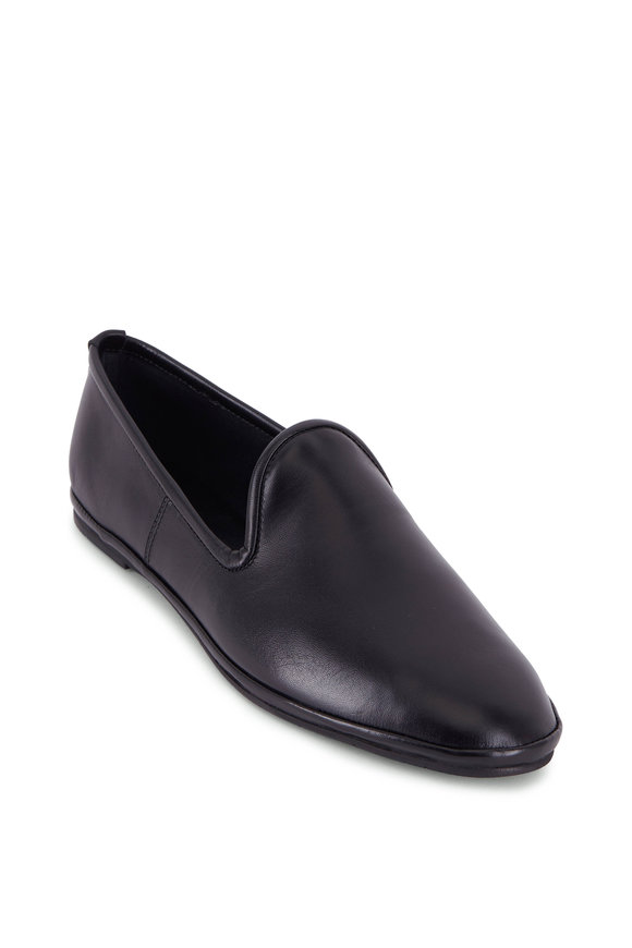 Aquatalia Maria Black Napa Leather Flat