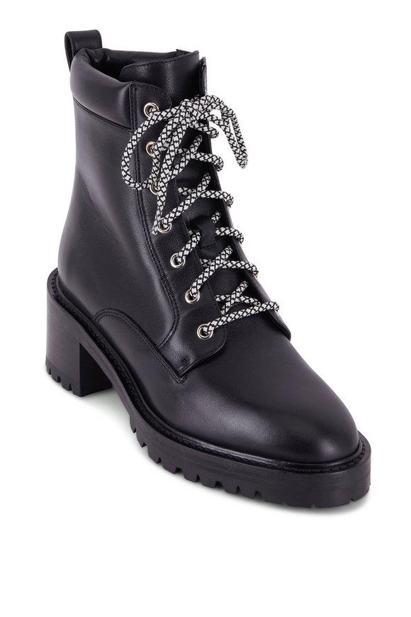 Aquatalia Sabine Black Leather Lace Up Boot, 55mm