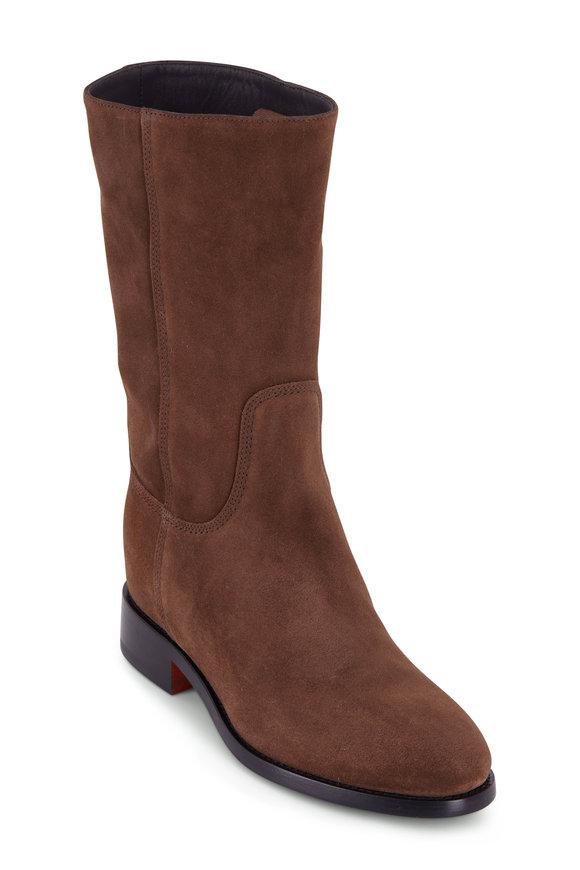 Santoni Dark Brown Suede Flat Boot
