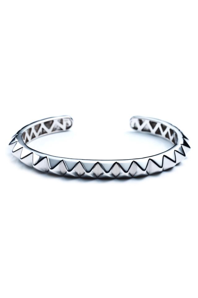 Silver Plate Pyramid Cuff Bracelet, Large