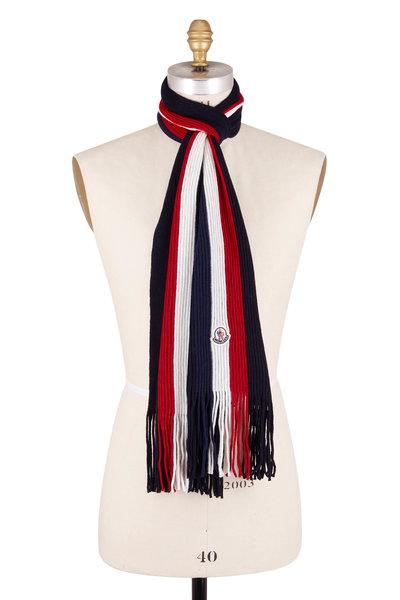 Moncler - Navy Wool Stripe Scarf