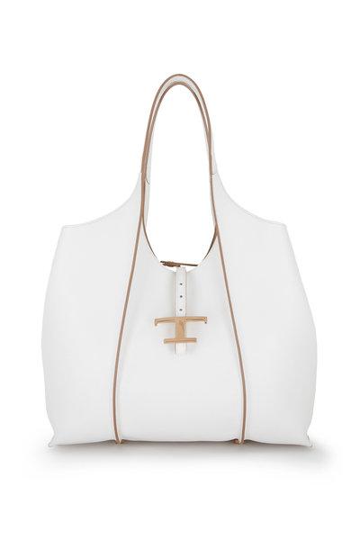 Tod's - Timeless White Leather Medium Shopping Bag