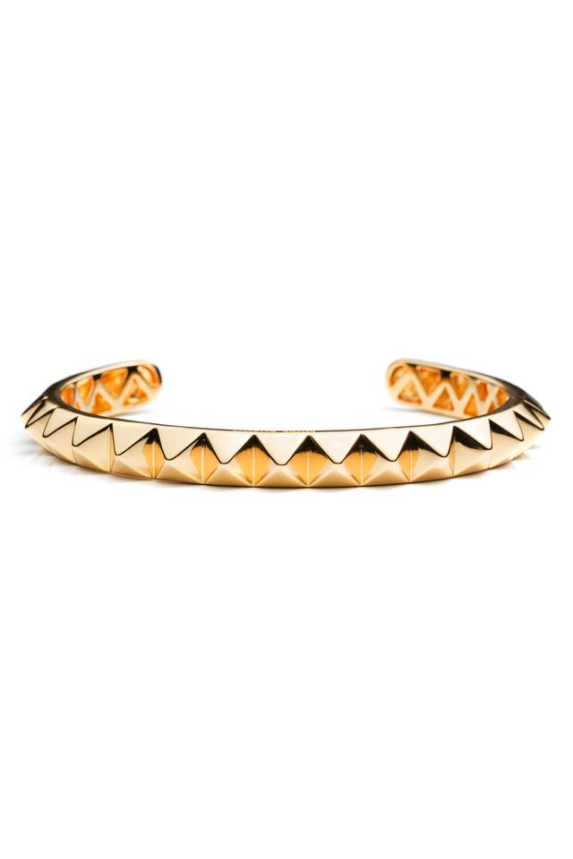 Brass Gold Plate Large Pyramid Bracelet, Large