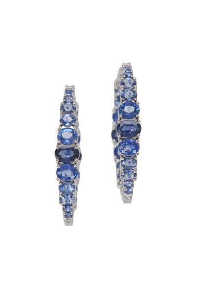 Cairo - White Gold Ombre Blue Sapphire Hoop Earrings
