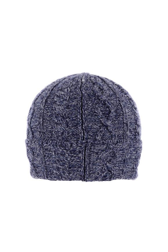 Brunello Cucinelli Donegal Navy Blue Cashmere Hat