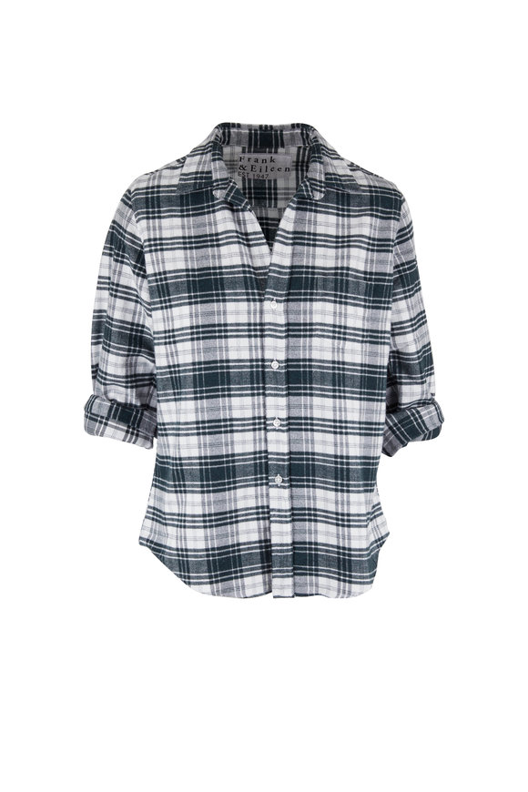 Frank & Eileen Barry Green & White Brushed Cotton Button Down