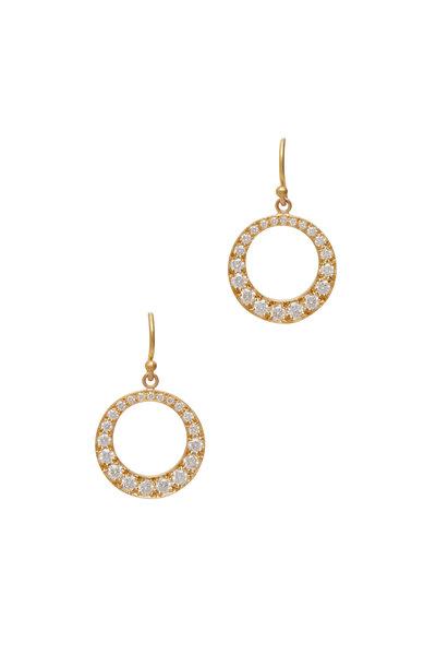 Caroline Ellen - Yellow Gold Pavé Circle Earrings