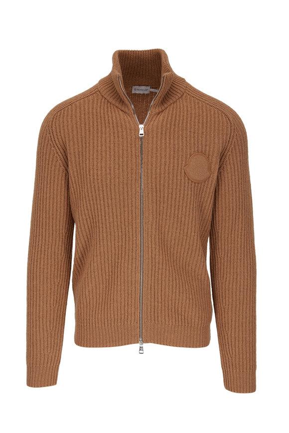 Moncler Camel Ribbed Cashmere & Wool Zip Cardigan