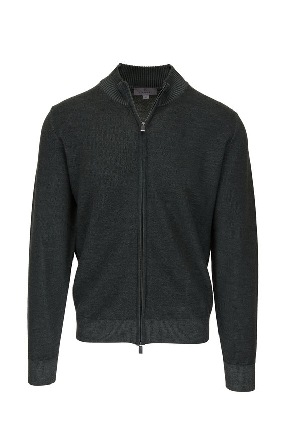 Canali Olive Textured Wool Front Zip Cardigan