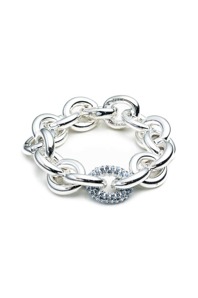 Brass Rose Gold Plate Pave Chain Link Bracelet