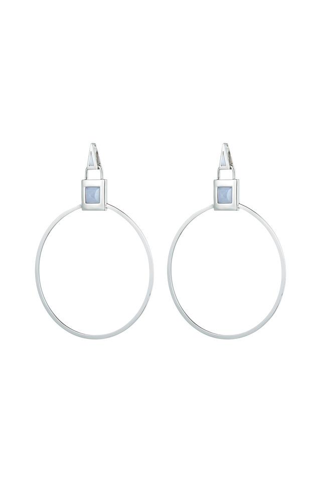 Silver Gemstone Padlock Hoop Earrings