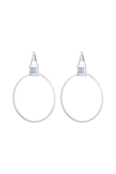 Eddie Borgo - Silver Gemstone Padlock Hoop Earrings