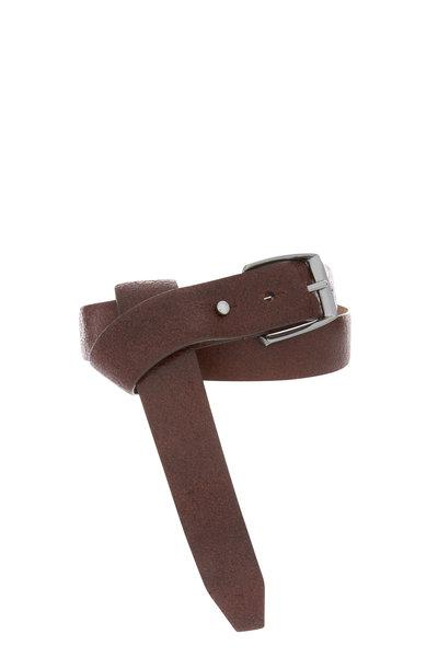 Brunello Cucinelli - Espresso Leather Pull Through Belt